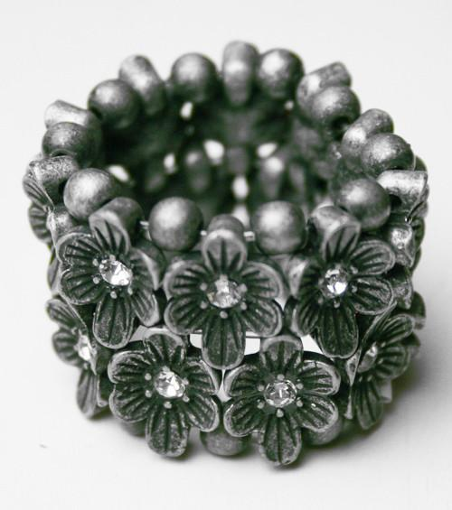 Gunmetal Grey Dark Flower Ring