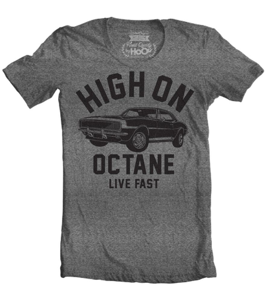 Men's HoO High on Octane Camaro Big Block Muscle Car Gym Workout T-Shirt