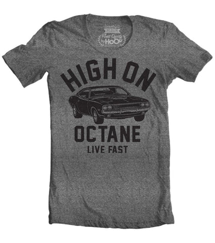 Men's HoO High on Octane Challenger Big Block Muscle Car Gym Workout T-Shirt