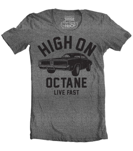 Men's HoO High on Octane Charger Big Block Muscle Car Gym Workout T-Shirt