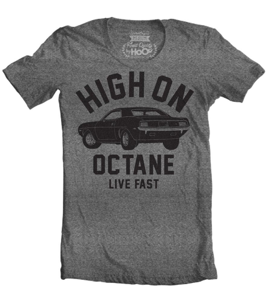 Men's High on Octane® Cuda Big Block© Muscle Car Gym Workout T-Shirt