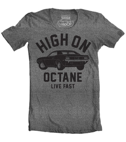 Men's HoO High on Octane Cuda Big Block Muscle Car Gym Workout T-Shirt