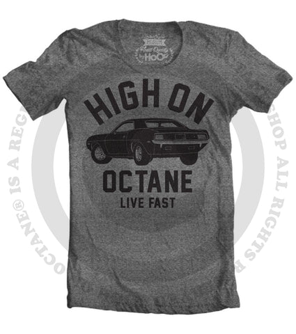 Women's HoO High on Octane Cuda Big Block Muscle Car Gym Workout T-Shirt