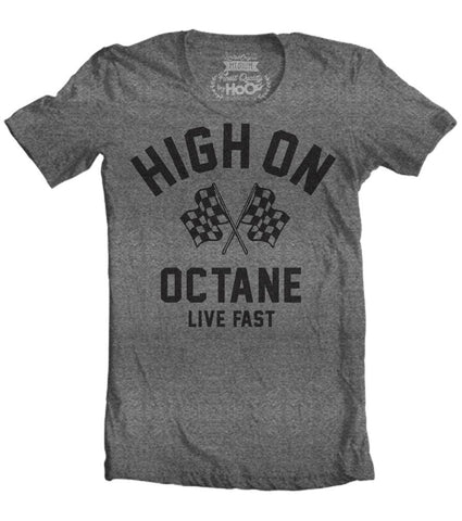 Women's HoO High on Octane Racing Flags Gym Workout T-Shirt
