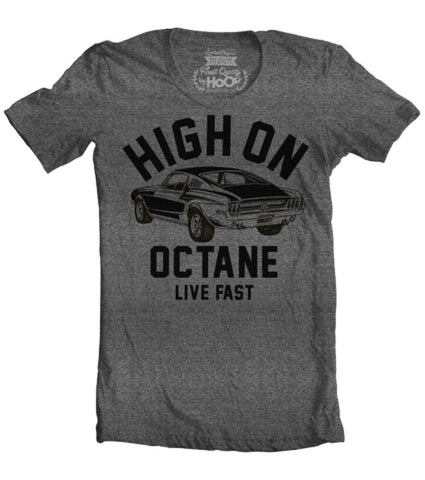 Men's HoO High on Octane Mustang Big Block Muscle Car Gym Workout T-Shirt
