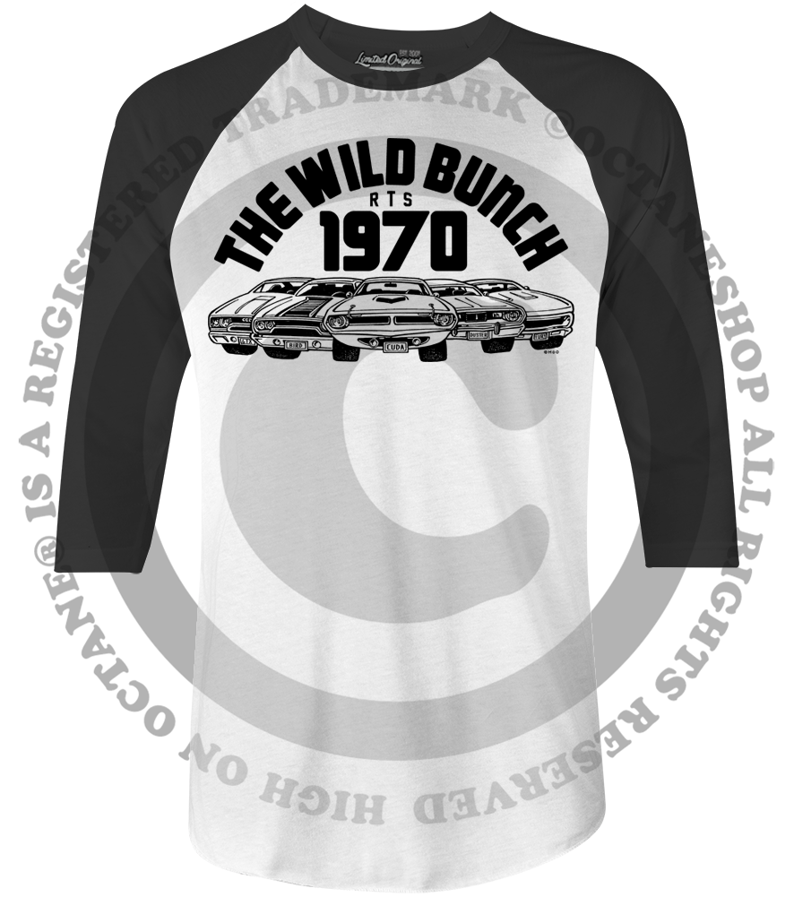 Men's HoO High on Octane The Wild Bunch 1970 Plymouth Muscle Cars Vintage Racing Raglan