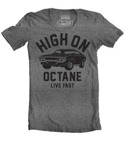 Men's HoO High on Octane Road Runner Big Block Muscle Car Gym Workout T-Shirt
