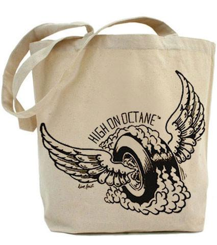 HoO High on Octane Winged Monster Wheel Tote Bag
