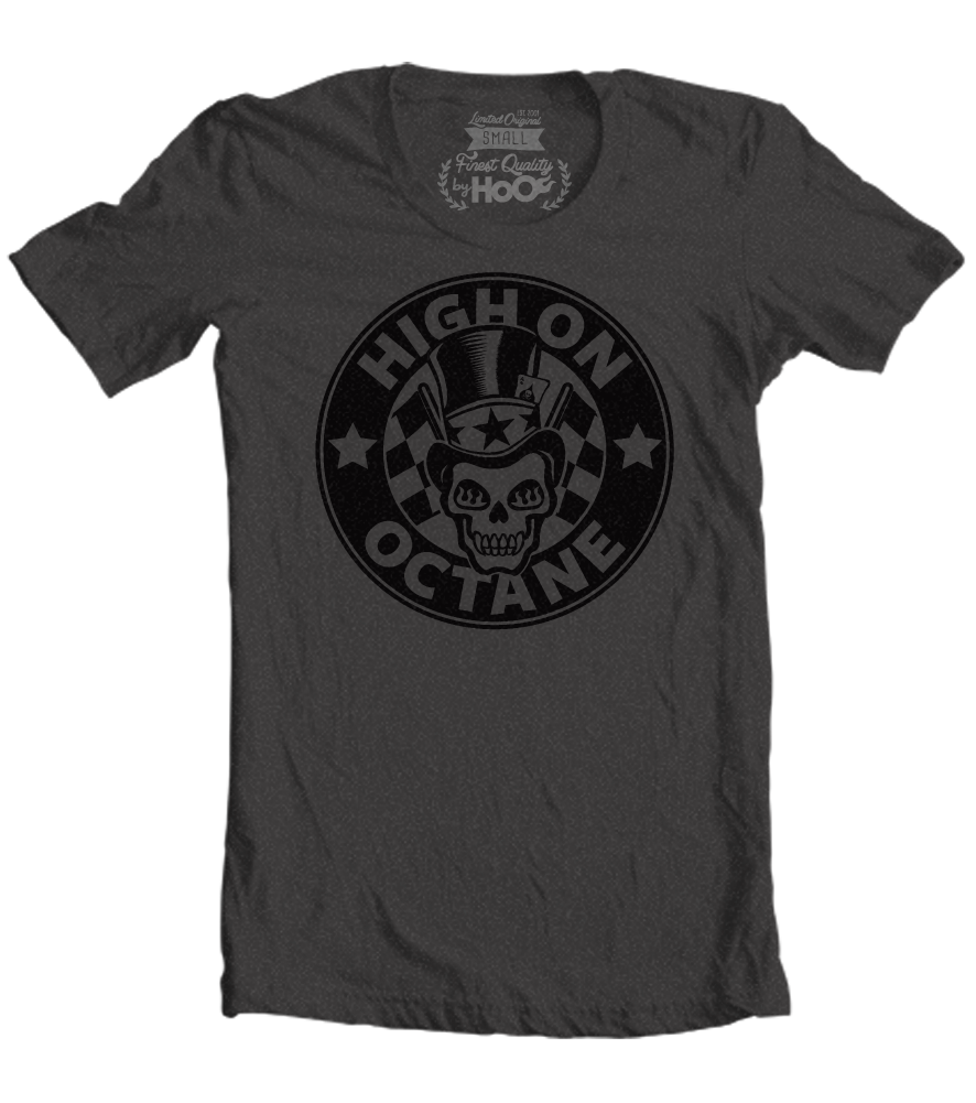 Men's HoO High on Octane Skull With Top Hat T-Shirt (Color Options)