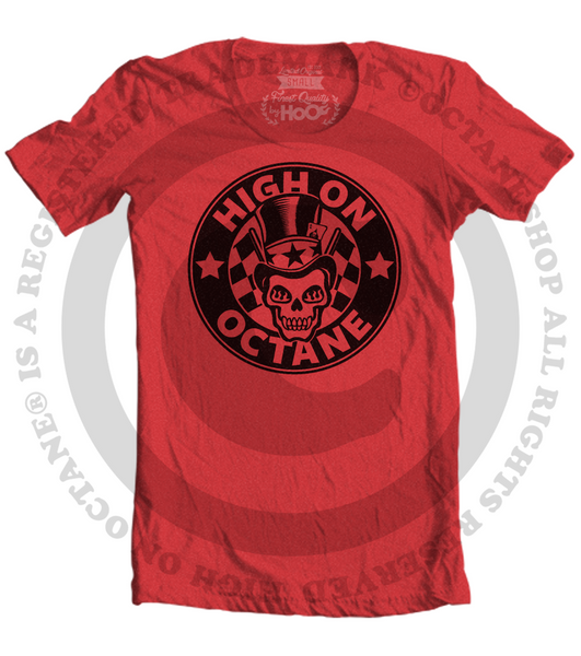 Women's HoO High on Octane Skull With Top Hat T-Shirt (Color Options)