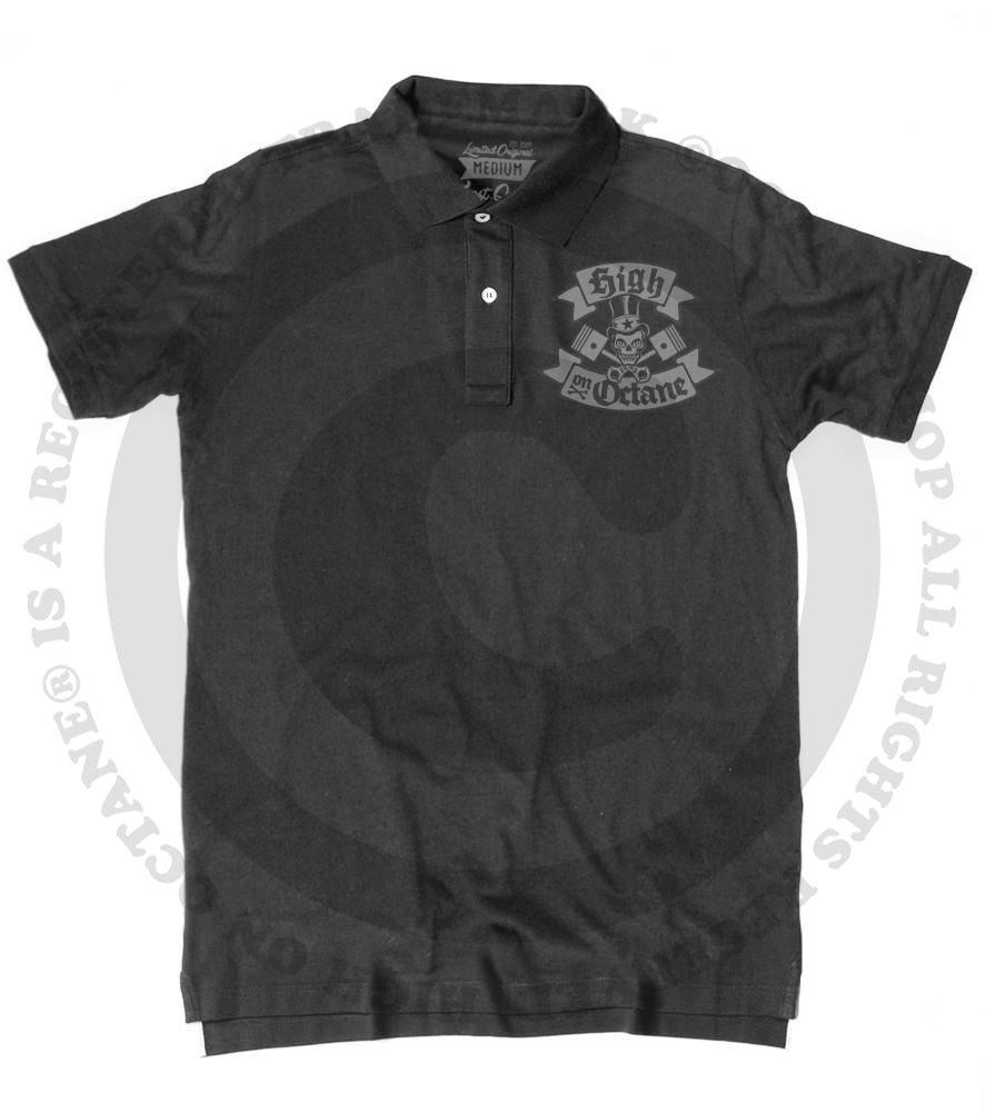 Men's HoO High on Octane Skull and Pistons Polo Shirt