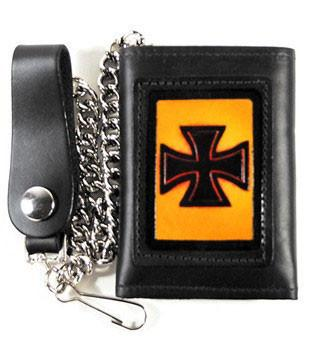 Leather Iron Cross Tri Fold Wallet