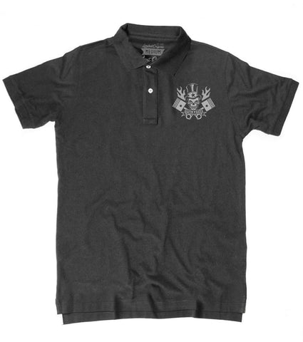 Men's HoO High on Octane Flaming Skull and Pistons Polo Shirt