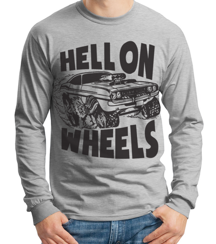 Men's HoO© High On Octane® Hell on Wheels Long Sleeve Athletic Grey T-Shirt