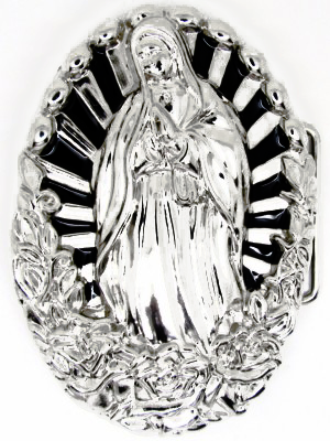 Virgin Mary and Roses Belt Buckle