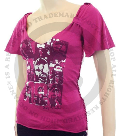 Women's Lip Service Fortune Teller Silver Skull Top