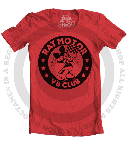 Men's HoO High on Octane Rat Motor V8 Club Hot Rod T-Shirt (Color Options)