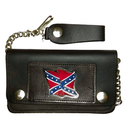 Leather Rebel Flag Wallet