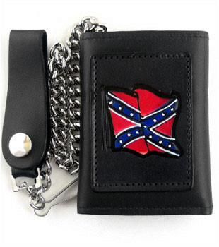 Leather Rebel Flag Tri Fold Wallet