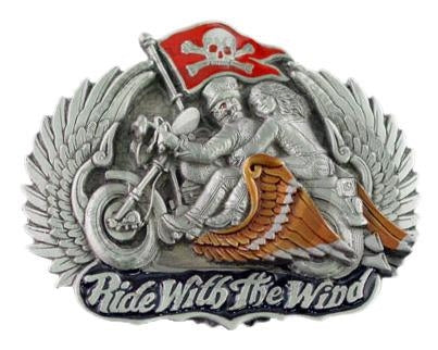 Ride the Wind Biker Metal Belt Buckle