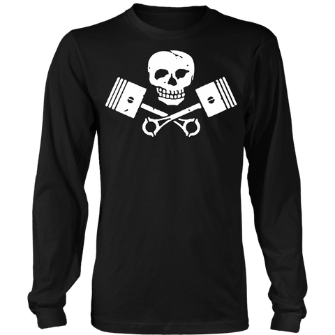 Unisex High on Octane® Skull and Pistons Long Sleeve Shirt