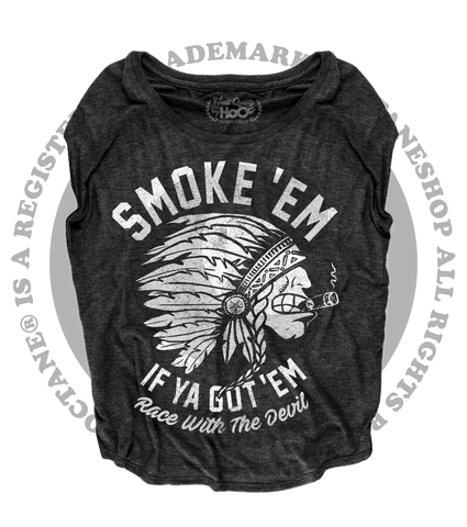 "Women's Race With The Devil ""Smokin' Indian"" Smoke 'Em Loose Fit Short Sleeve Top"