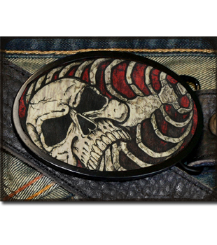 Skull and Bones Wood Belt Buckle