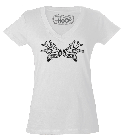 Women's HoO High on Octane True Love Birds Tri-Blend V-Neck Shirt