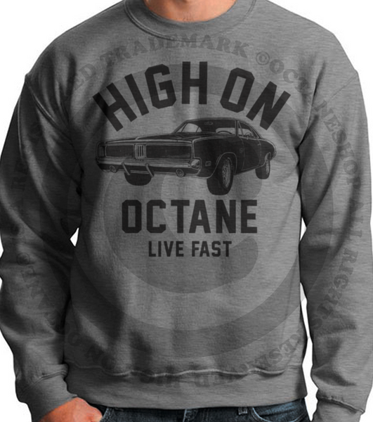 Men's High on Octane® Old School Charger© Muscle Car Sweatshirt
