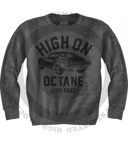 Men's HoO High on Octane Old School Mustang Muscle Car Sweatshirt