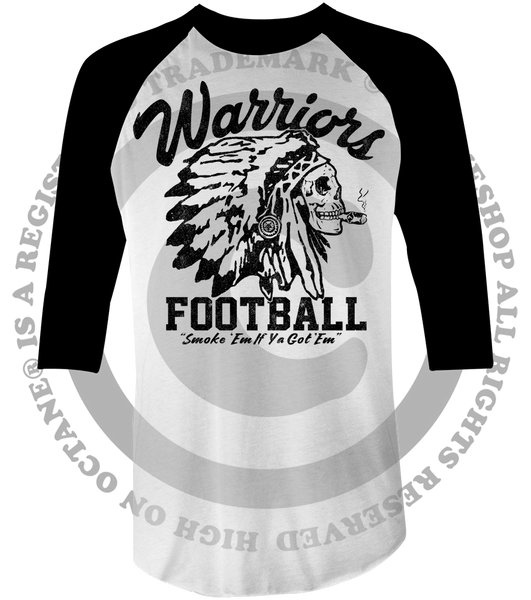 "Unisex Race With The Devil ""Warriors Football Smoke 'Em"" Raglan"