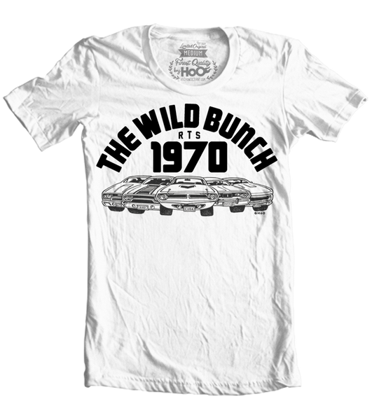 Men's HoO High on Octane Wild Bunch 1970 Plymouth Muscle Cars T-Shirt (Color Options)