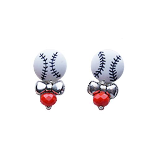 EARRINGS BBALL BLK/ORG, SACRAMENTO RIVER CATS