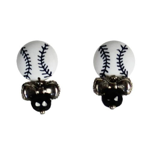EARRINGS BBALL BLK/WHT, SACRAMENTO RIVER CATS