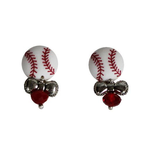 EARRINGS BBALL RED/RED, SACRAMENTO RIVER CATS