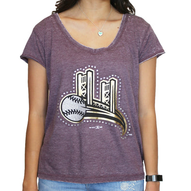 KNOT BACK TEE PURPLE, SACRAMENTO RIVER CATS