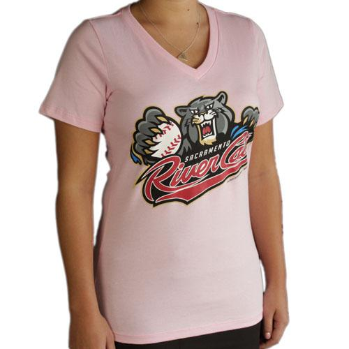 PRIMARY V-NECK PINK, SACRAMENTO RIVER CATS