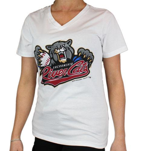 PRIMARY V-NECK WHITE, SACRAMENTO RIVER CATS