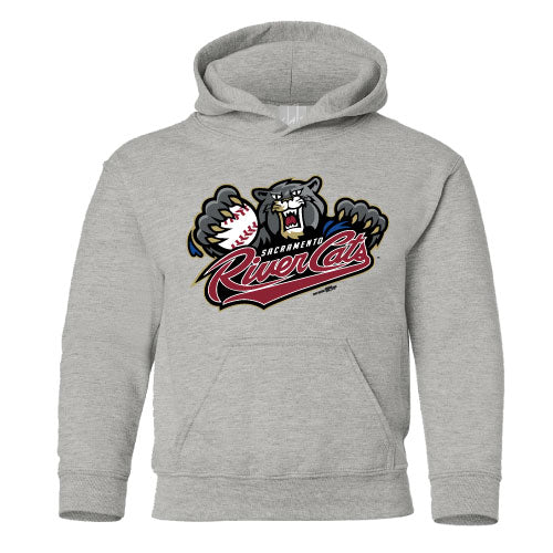 PRIMARY HOODED SWEATSHIRT YOUTH GREY, SACRAMENTO RIVER CATS