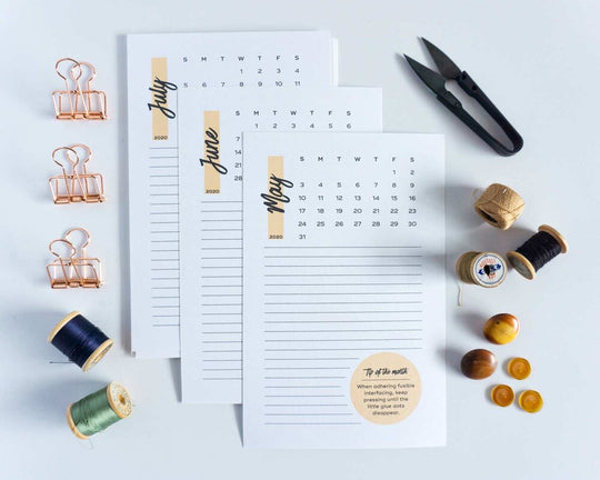 2020 Sewing Calendar from Sew DIY
