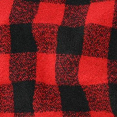 Wool Blend - Plaid - Red Black
