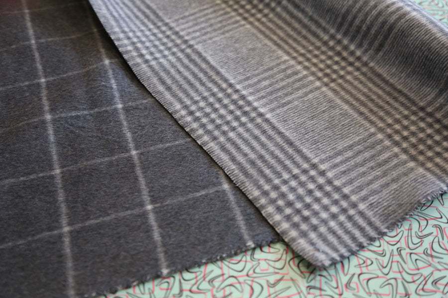 Wool - Double Faced Plaid - Charcoal