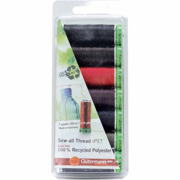 GÜTERMANN - Sew-all rPet (100% Recycled) Thread - 7 Spool Set - 100m