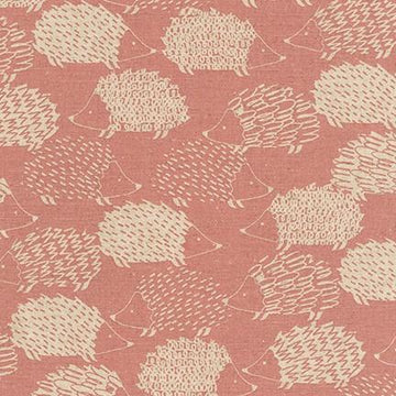 Cotton Flax - Canvas  - Pink Hedgehog