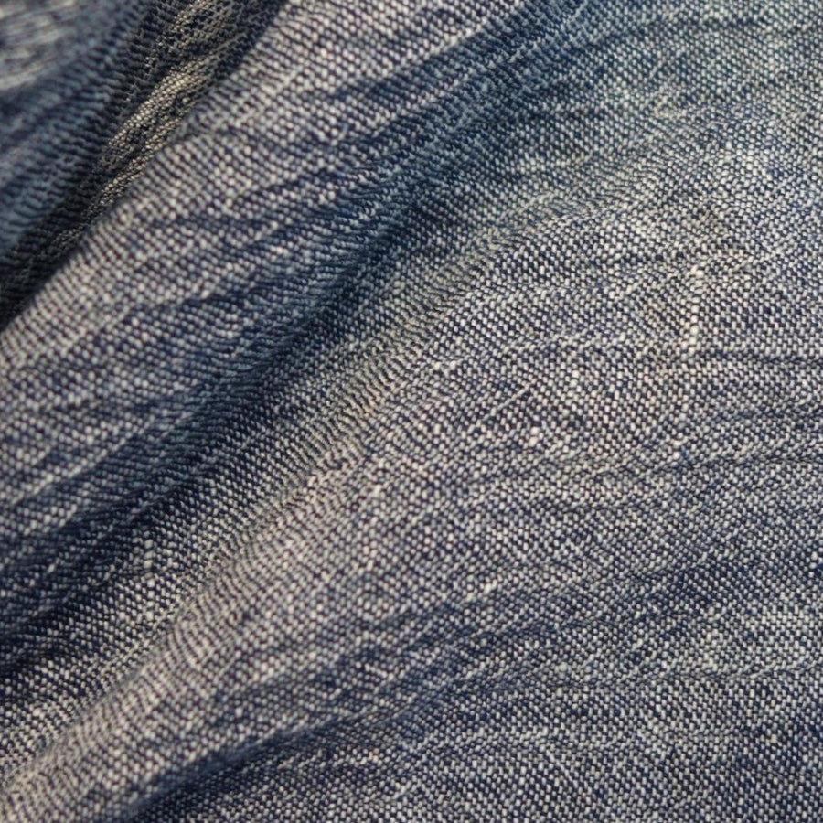 Crinkle Linen - Yarn Dyed - Navy White
