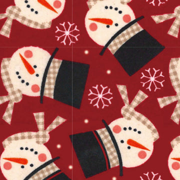 Flannel - Snowman - Red