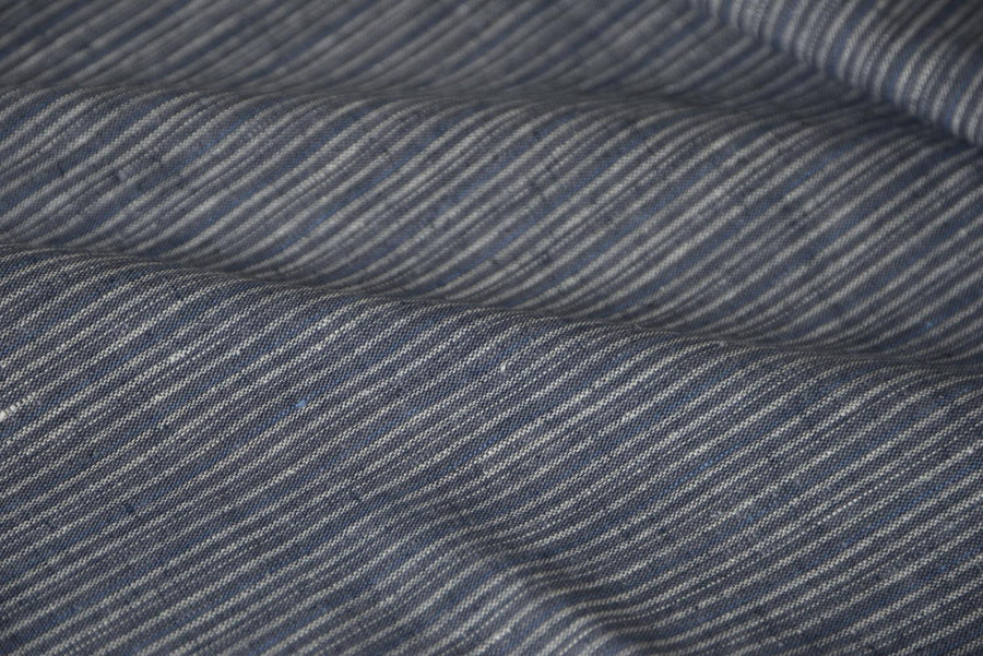 Hemp Organic Cotton - Yard Dye Varied Stripe - Indigo