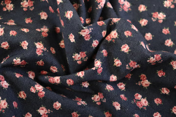 Stof - Cotton - Avalana - Jersey - Navy Pink Rose