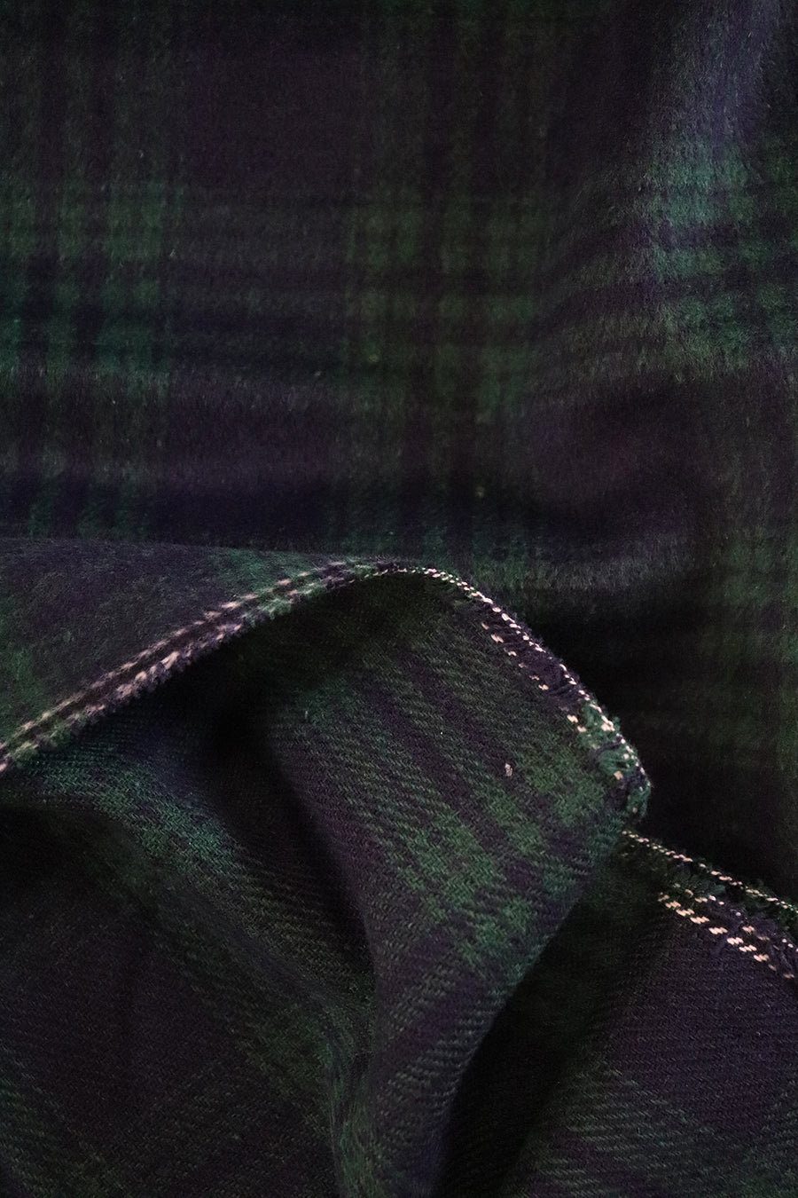Wool Blend - Brushed Plaid - Navy Forest