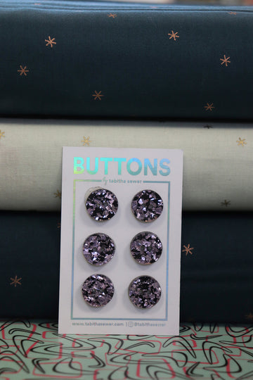 Tabitha Sewer - Confetti Glitter Button - 15mm - Lavender
